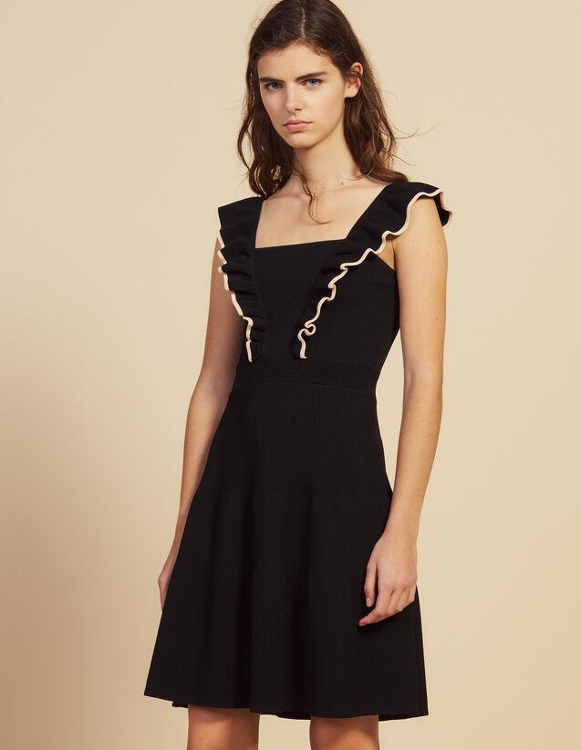 Robe Courte Aux Emmanchures Volantées : Robes couleur Noir