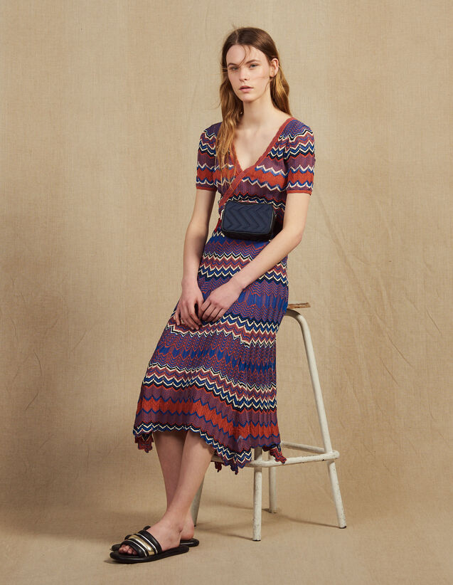 Jupe Longue En Maille Imprimée Zigzag : Jupes & Shorts couleur Terracotta