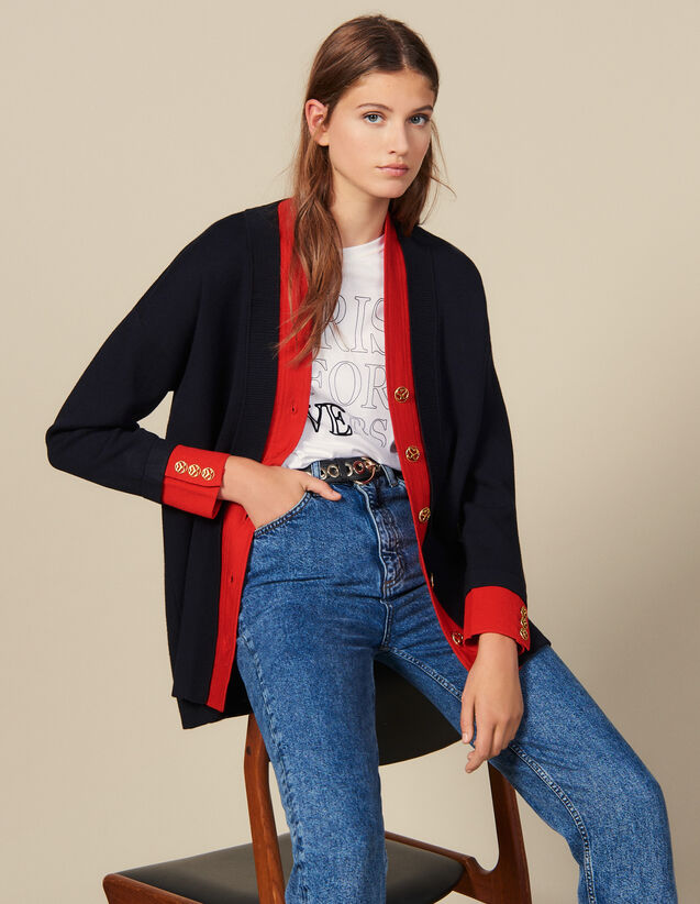 Cardi-coat bicolore à effet superposé : Pulls & Cardigans couleur Marine
