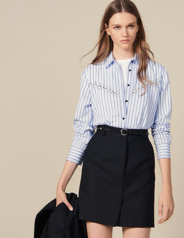 Jupe Courte De Tailleur À Fines Rayures : Jupes & Shorts couleur Noir