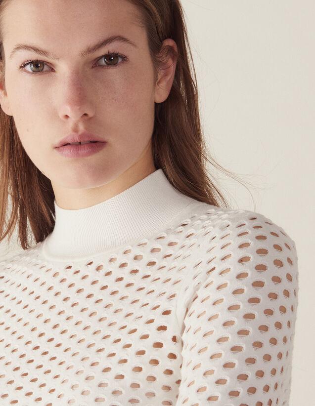 Pull Manches Longues Résille : Pulls & Cardigans couleur Blanc
