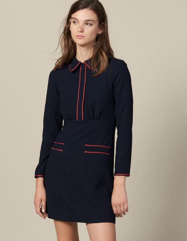 Robe  Texturée À  Galons : Robes couleur Marine