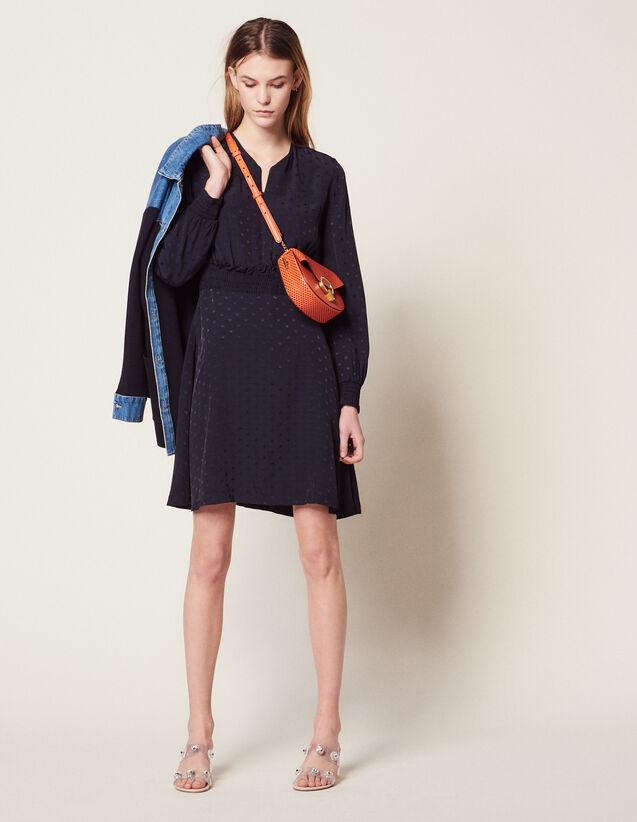 Robe Courte En Jacquard : Robes couleur Marine