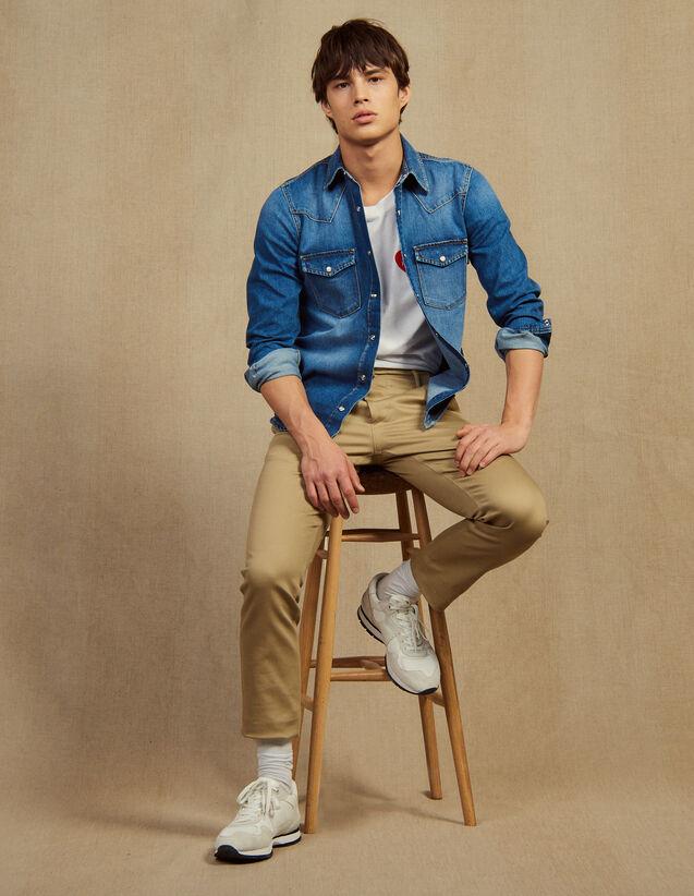 Pantalon Chino Droit : LastChance-RE-HSelection-Pap&Access couleur Beige