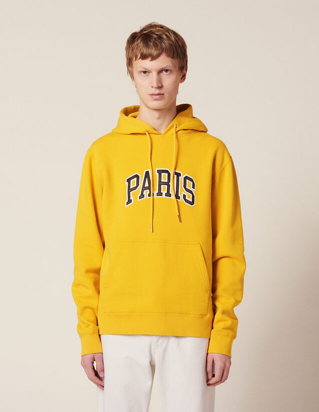 Hoodie Avec Patch À Message : Sweats couleur Jaune