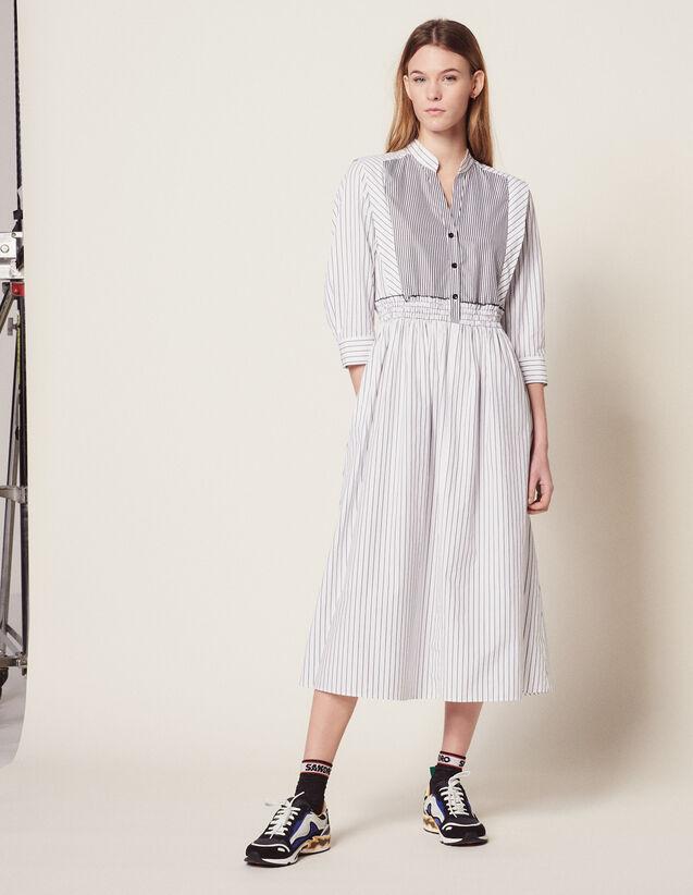 Robe Midi Rayée En Coton : Sélection Last Chance couleur Blanc