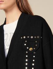 Cardi-coat orné de studs : Pulls & Cardigans couleur Noir