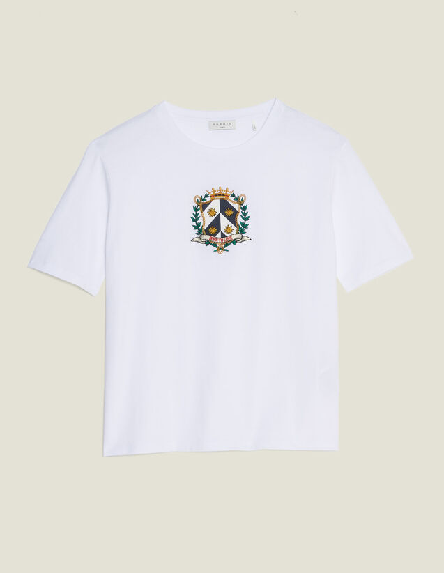 Tee-Shirt Court Avec Broderie : T-shirts couleur blanc