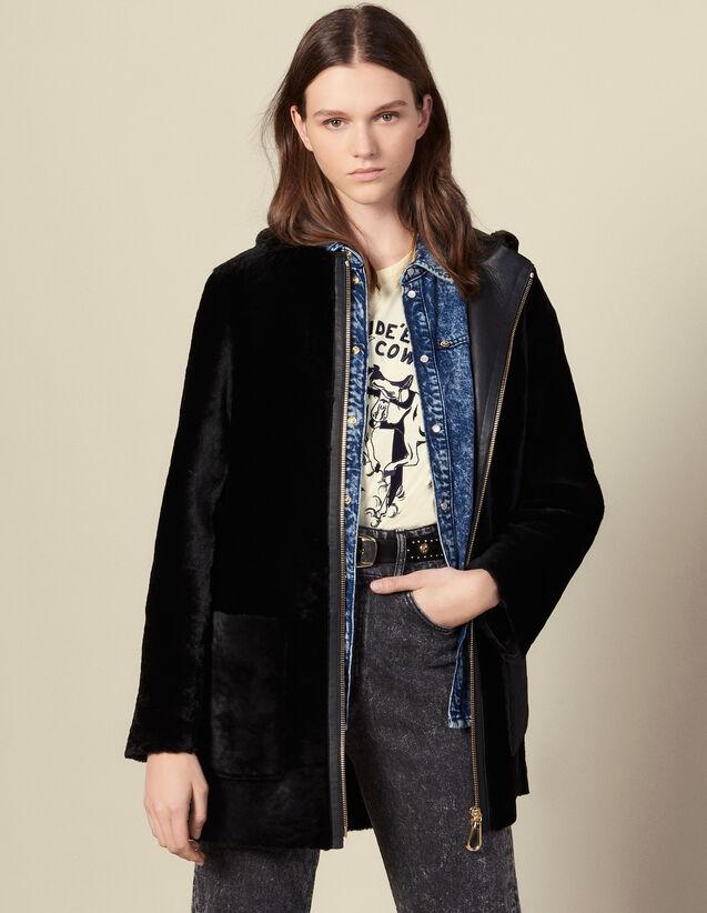 Manteau en peau lainée à patte en cuir : Manteaux couleur Noir