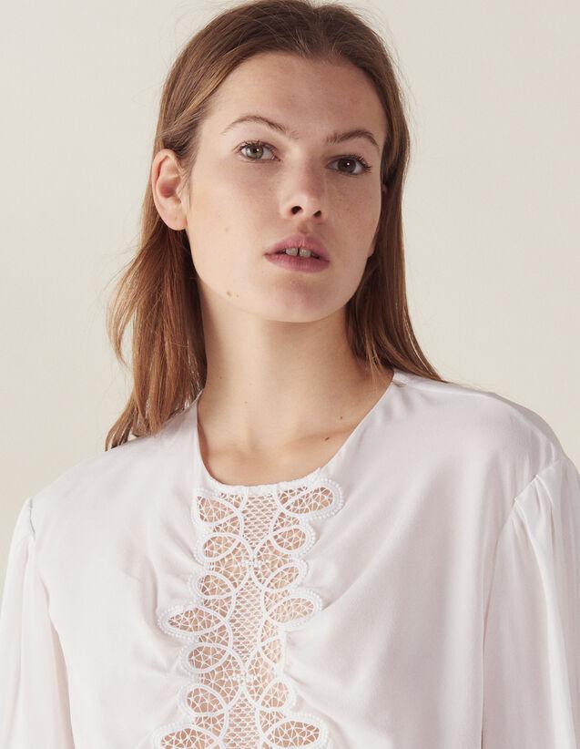 Top En Soie Manches Longues : Tops & Chemises couleur Blanc