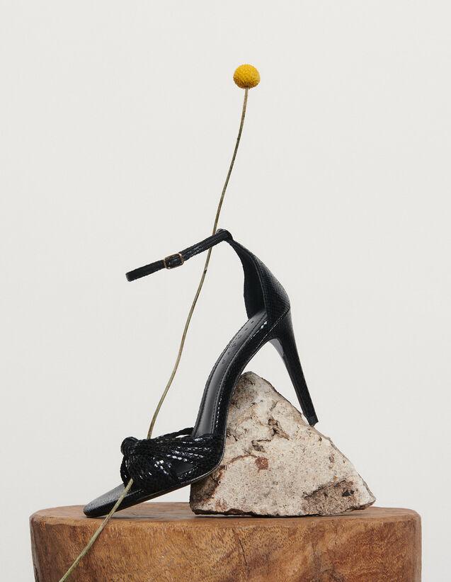 Sandales en cuir embossé : Toutes les Chaussures couleur Noir