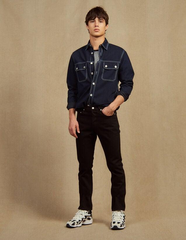 Jean En Toile De Coton Étroit : Jeans couleur Noir