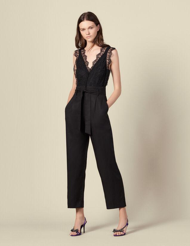 Combi-pantalon à haut en dentelle : Combinaisons couleur Noir