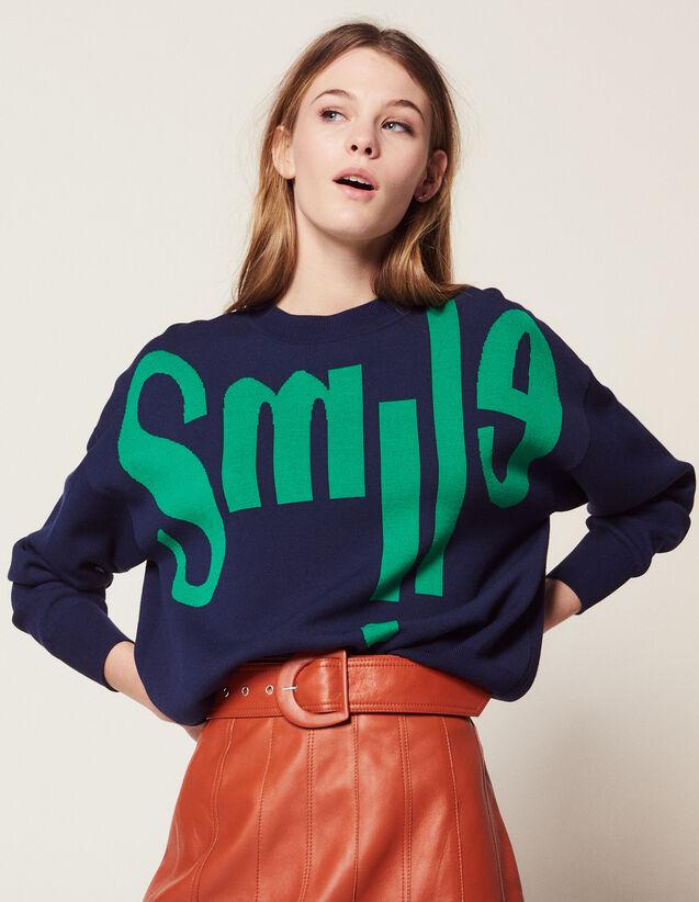 Pull Avec Message Sur Le Devant : Pulls & Cardigans couleur Marine