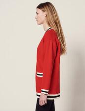 Cardigan Long Avec Doublure Imprimée : Pulls & Cardigans couleur Rouge