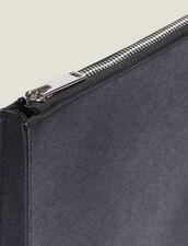Porte Documents Zippé En Cuir Saffiano : Collection Été couleur Noir
