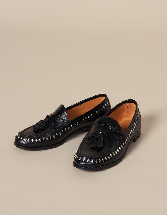 Mocassin en cuir froissé avec pompons : LastChance-ES-F40 couleur Noir