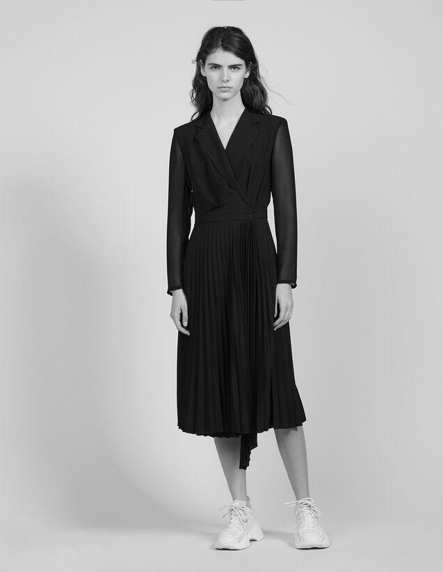 Robe Bi-Matière À Manches Longues : Robes couleur Noir