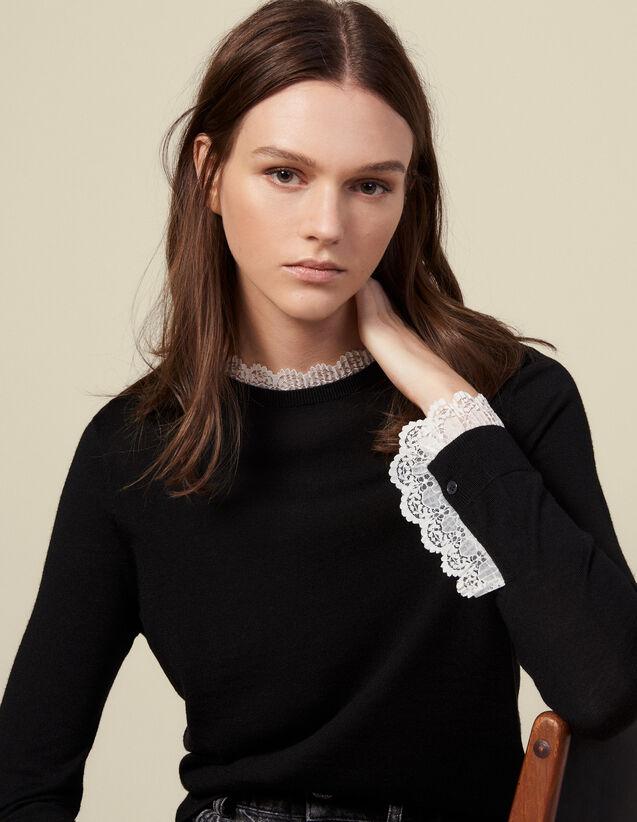 Pull fin bordé de dentelle : Pulls & Cardigans couleur Noir