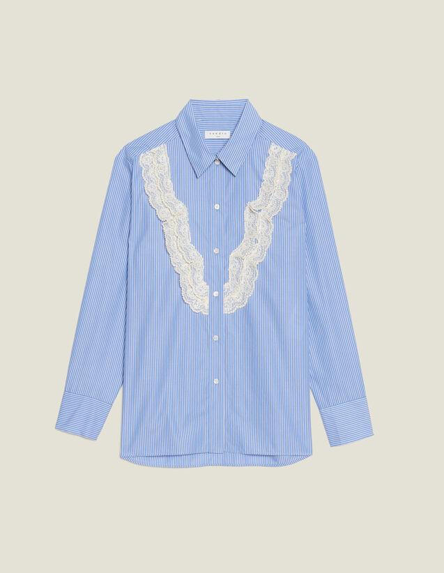 Chemise À Fines Rayures Avec Dentelle : Chemise imprimée couleur Bleu ciel