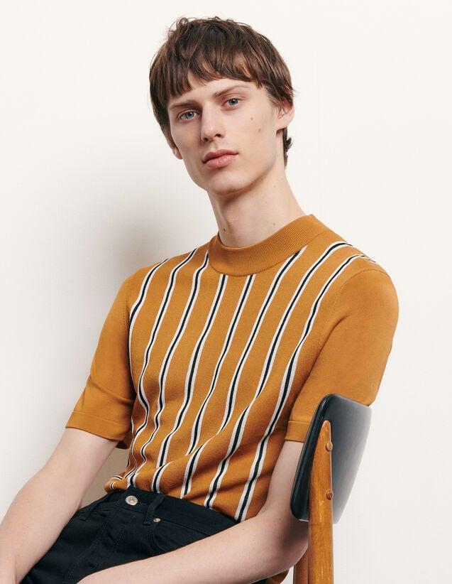 T-shirt rayé en maille : T-shirts & Polos couleur Camel