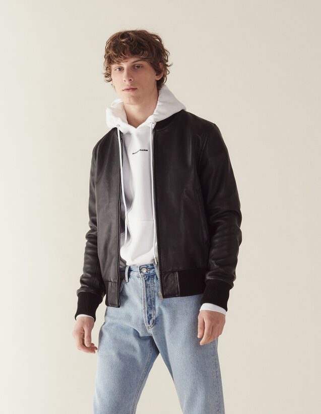Blouson zippé en cuir : Blousons & Vestes couleur Noir