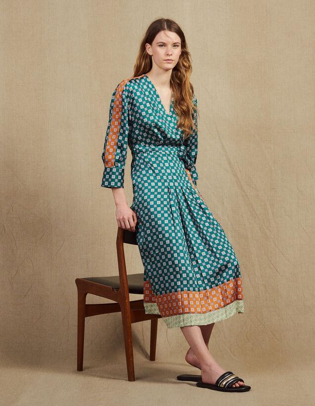 Robe Longue En Patchwork D'Imprimés : Robes couleur Vert