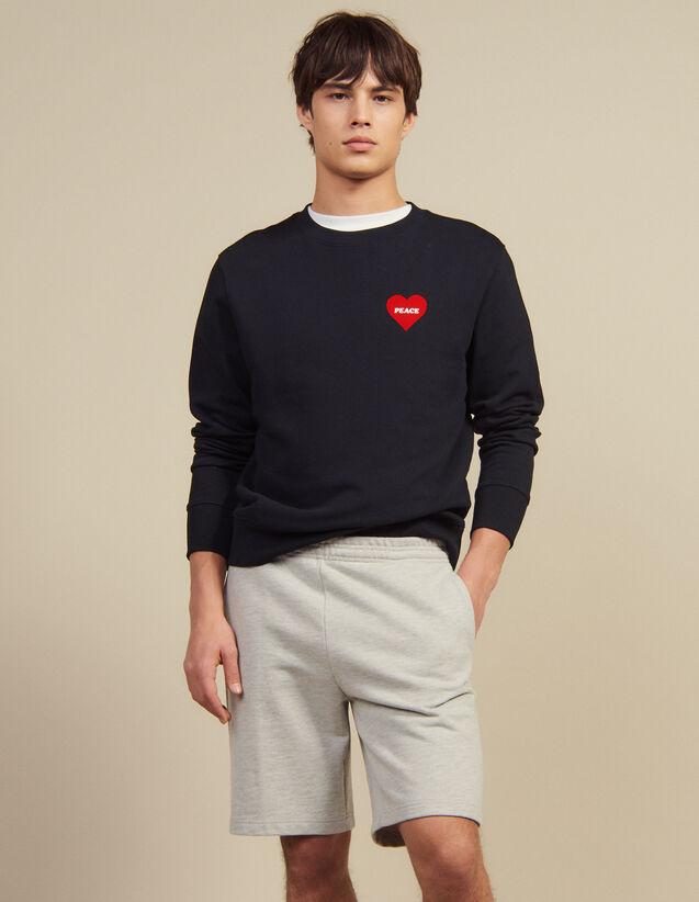 Short En Jersey : Pantalons & Shorts couleur Gris Chiné