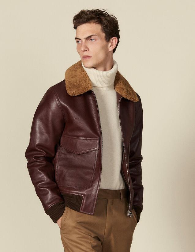 Blouson aviateur en cuir avec col mouton : Blousons & Vestes couleur Noir