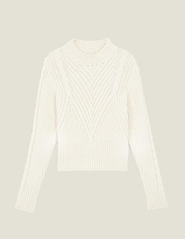 Pull en laine à grosse maille : LastChance-ES-F40 couleur Ecru