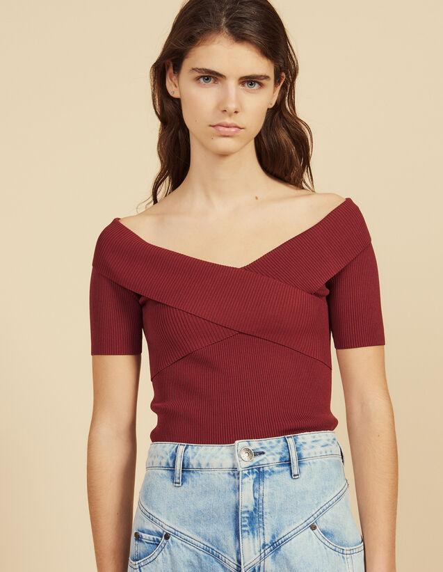 Top En Maille À Encolure Croisée : Chemise manches courtes couleur Blanc