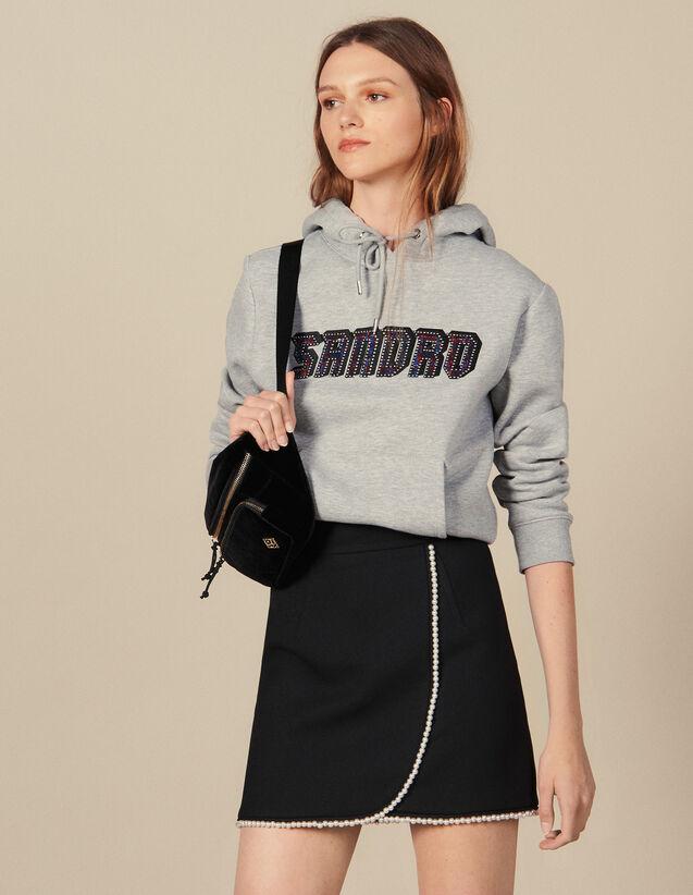 Jupe Courte Ornée De Perles : Jupes & Shorts couleur Noir