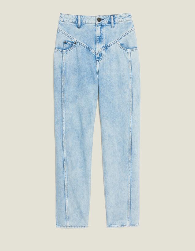 Jean Délavé À Découpes : Jeans couleur Blue Vintage - Denim