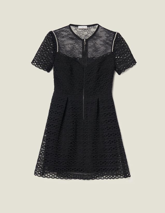 Robe Patineuse En Guipure : Robes couleur Noir