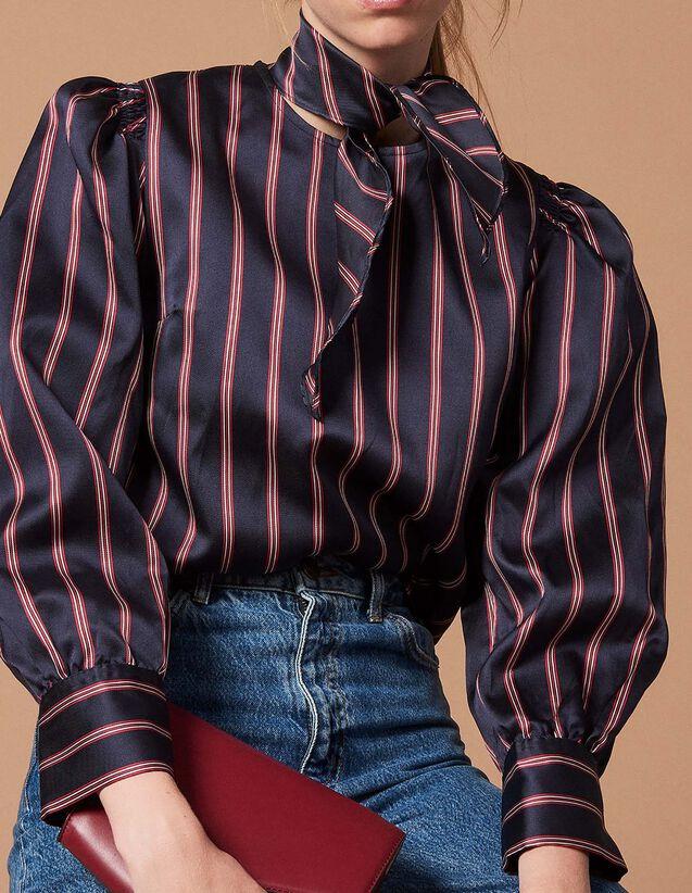 Chemise rayée avec nœud au col   Tops   Chemises couleur Deep Navy 046683401c6