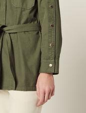 Veste Ceinturée Avec Boutons Pressions : Blousons & Vestes couleur Kaki