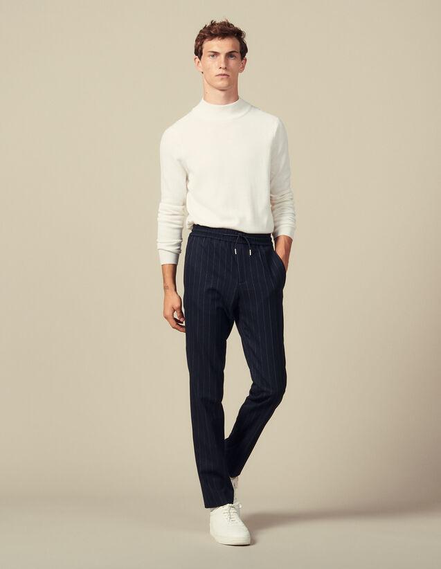 Pantalon De Ville En Laine : Pantalons & Shorts couleur Marine