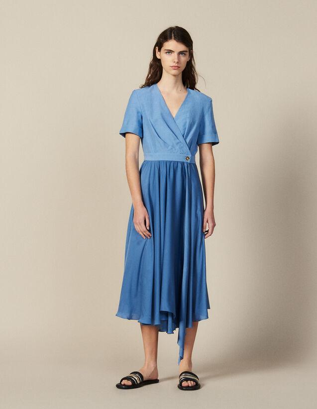 Robe Portefeuille Mix Matière : Robes couleur Bleu