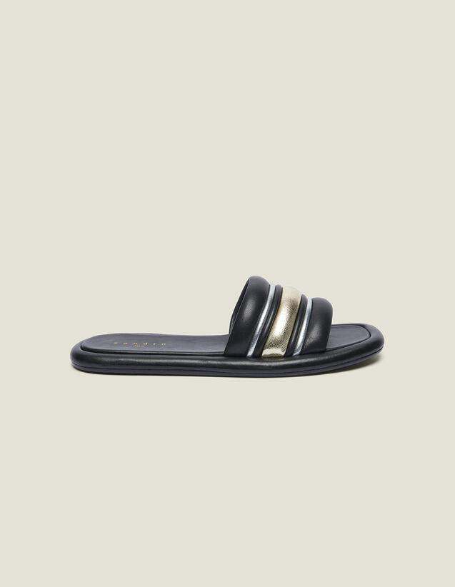 Mules Plates Mix Matières : Toutes les Chaussures couleur Noir/or