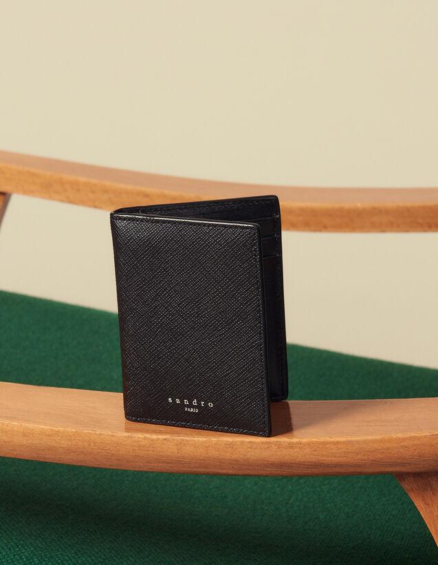 Portefeuille À Rabat En Cuir Safiano : Porte-cartes & Portefeuilles couleur Noir