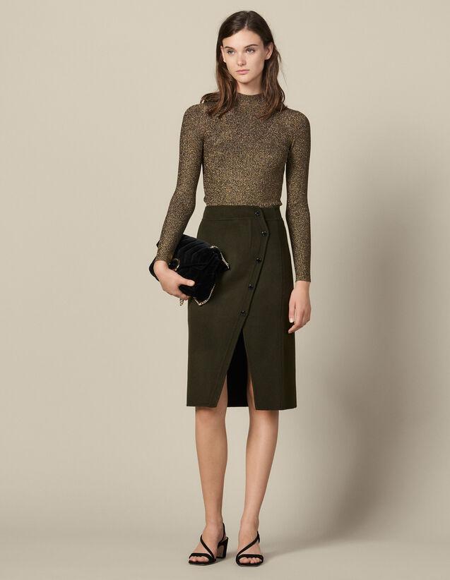 Jupe Portefeuille Fendue En Laine : Jupes & Shorts couleur Kaki