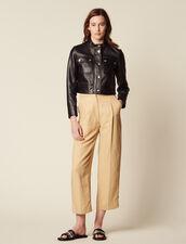 Veste Courte En Cuir : Blousons & Vestes couleur Noir