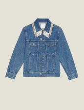 Veste En Jean  Avec Strass Au Col : Blousons & Vestes couleur Blue Vintage - Denim