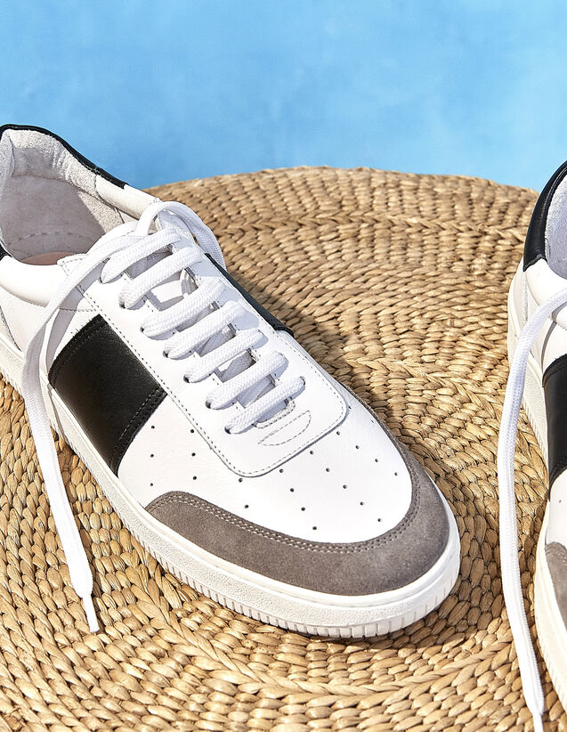Baskets en cuir : Chaussures couleur blanc