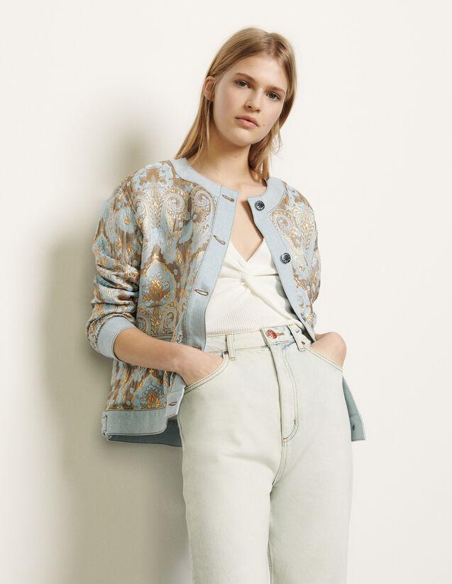 Veste en brocard et empiècements en jean : Blousons & Vestes couleur Or / Bleu