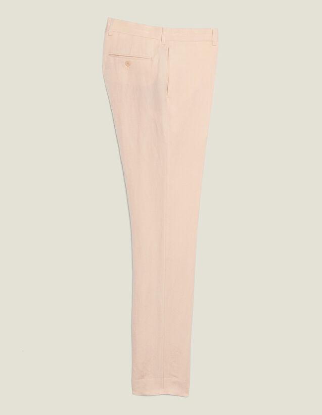 Pantalon De Costume En Lin Mélangé : Costumes & Smokings couleur Rose pâle