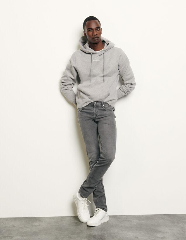 Jean gris délavé - Coupe étroite : Jeans couleur Gris