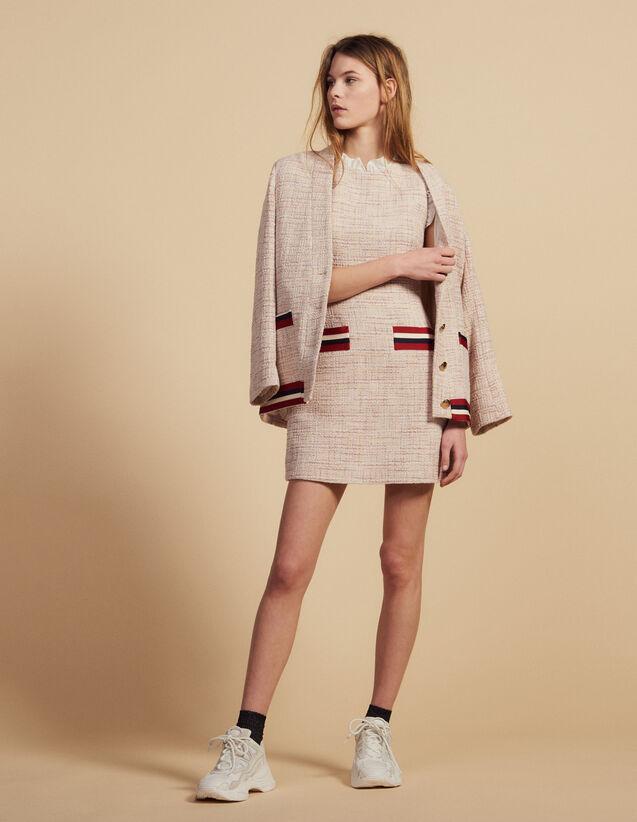 Robe Courte Et Droite En Tweed : Robes couleur Rose