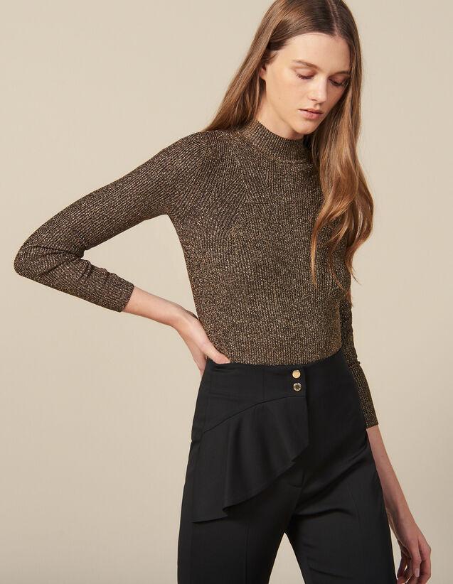 Pull En Maille Lurex Côtelé : Pulls & Cardigans couleur Or