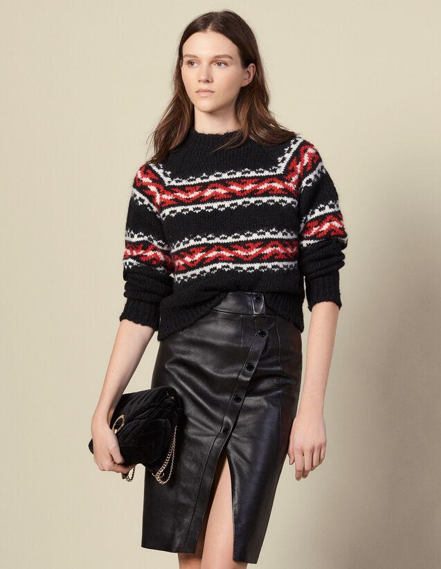 Jupe portefeuille fendue en cuir : Jupes & Shorts couleur Noir